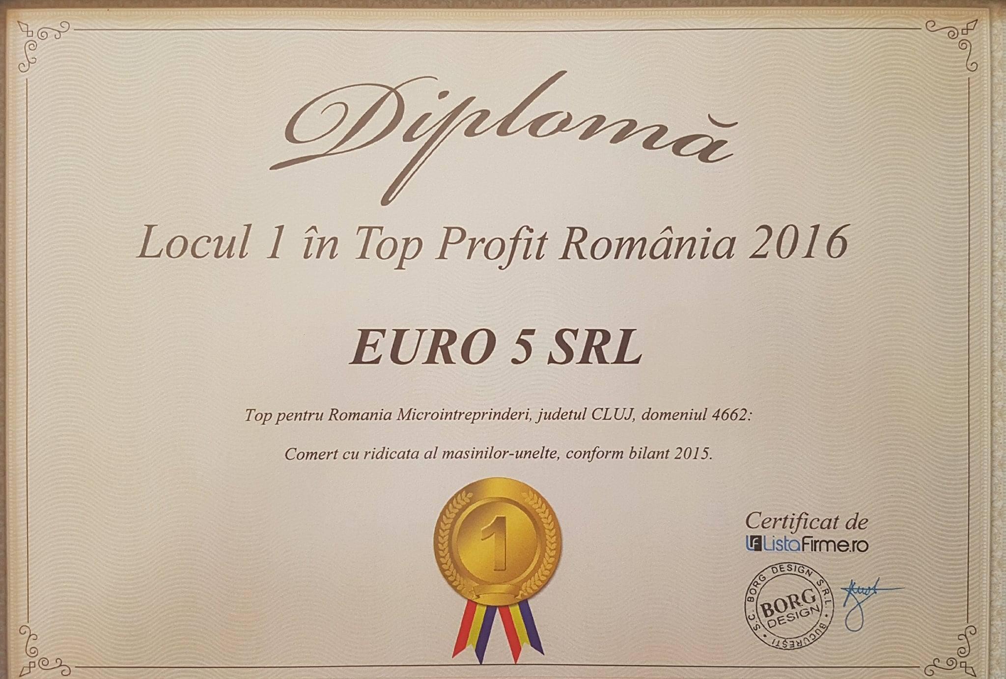 Diploma - Locul 1 in top profit romania 2016